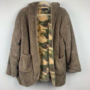 HONEY BUM Brown Camo Plush Teddy Jacket Coat Sz S